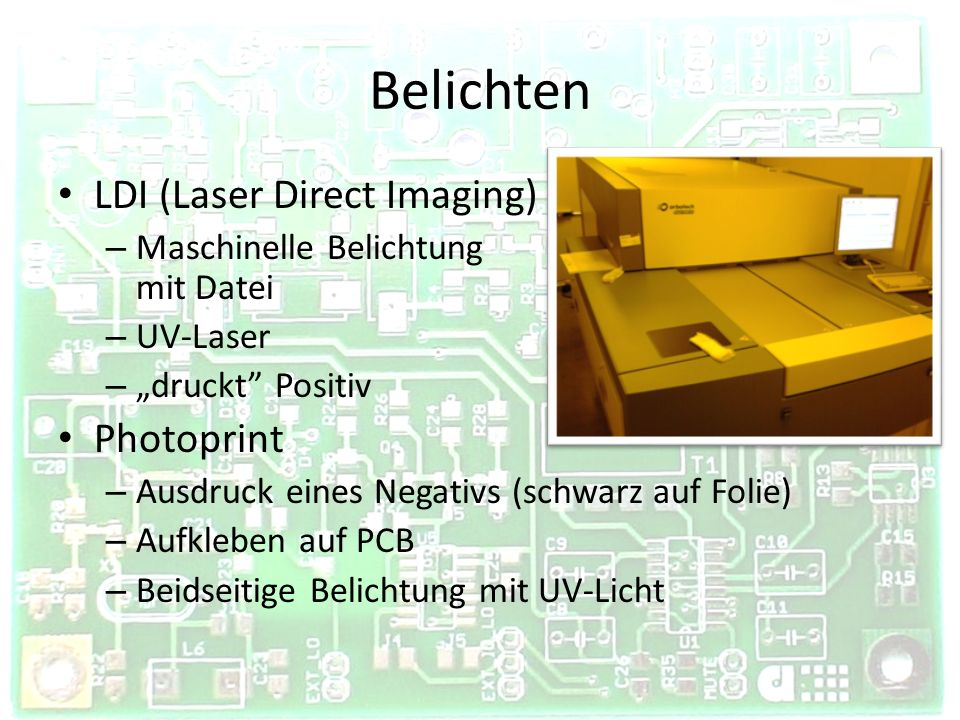 Belichten LDI (Laser Direct Imaging) Photoprint