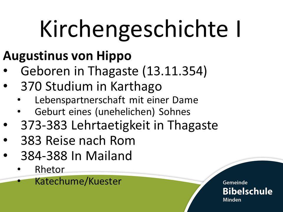 Kirchengeschichte I Augustinus von Hippo