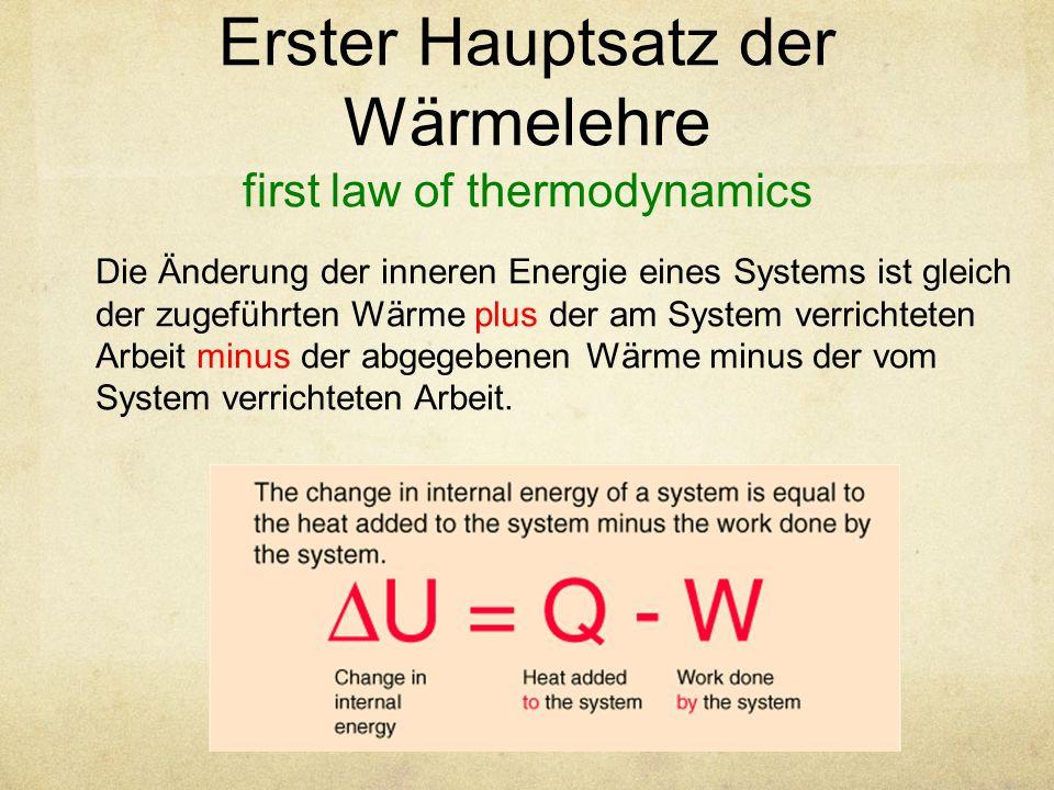 Erster Hauptsatz der Wärmelehre first law of thermodynamics