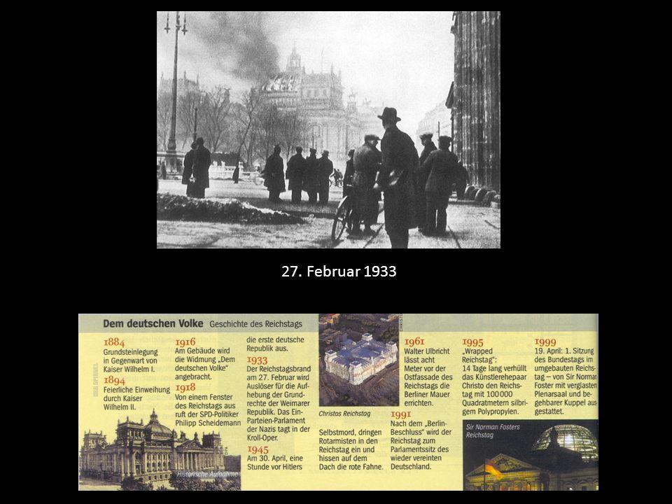 27. Februar 1933 Reichstagsbrand