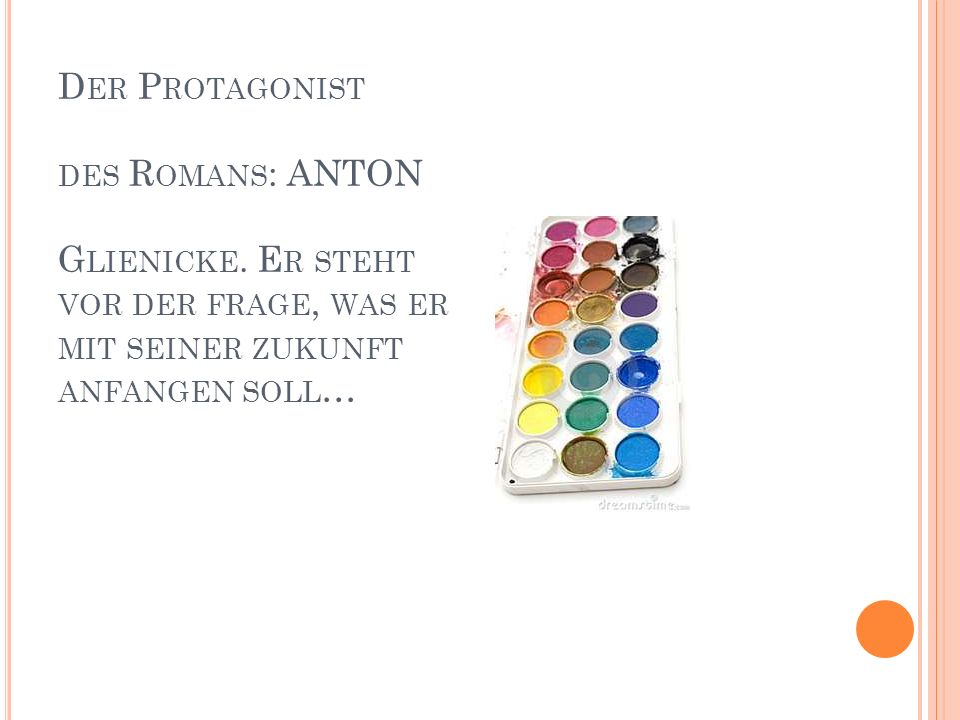 Der Protagonist des Romans: ANTON Glienicke