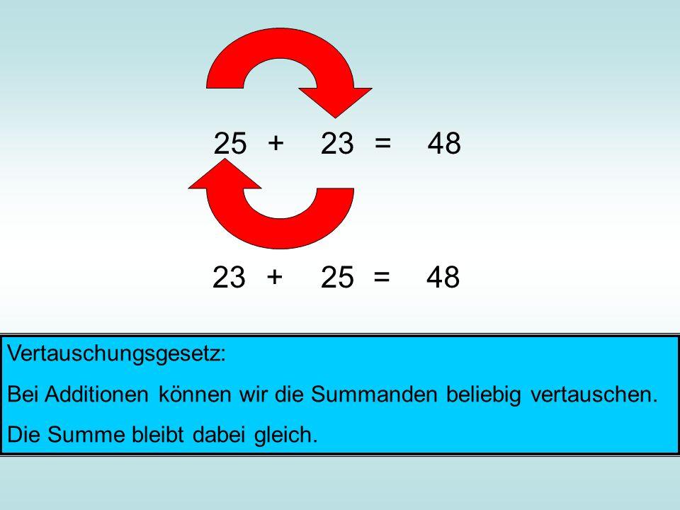 25 + 23 = 48 23 + 25 = 48 Vertauschungsgesetz: