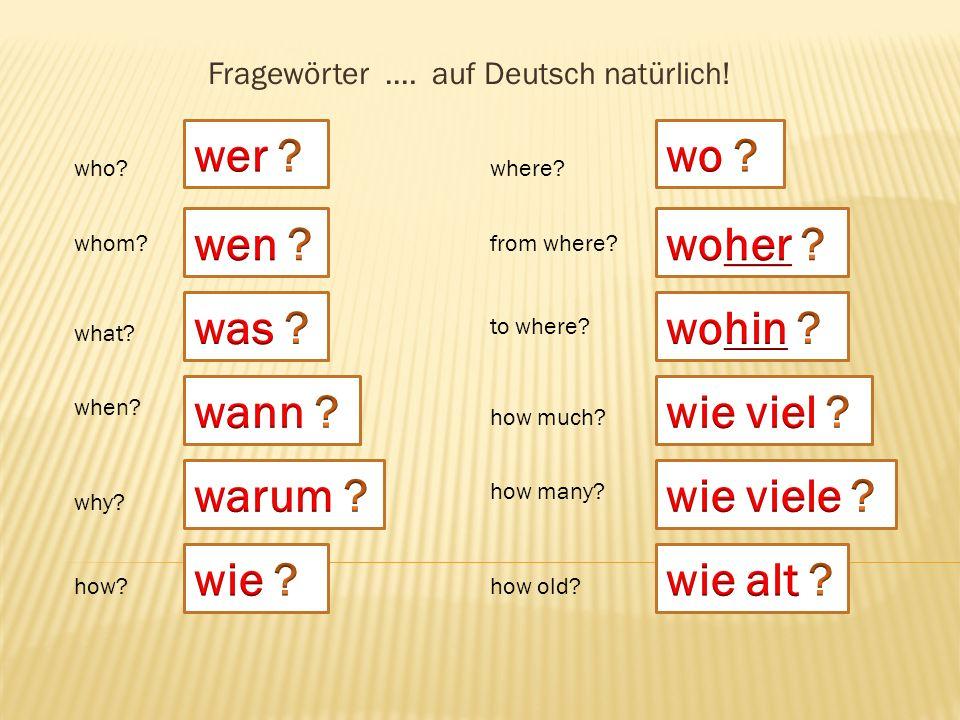 Fragewörter …. auf Deutsch natürlich!