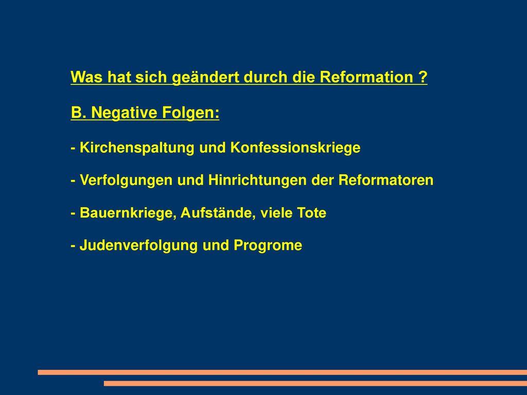 auswirkung der reformation auf heute