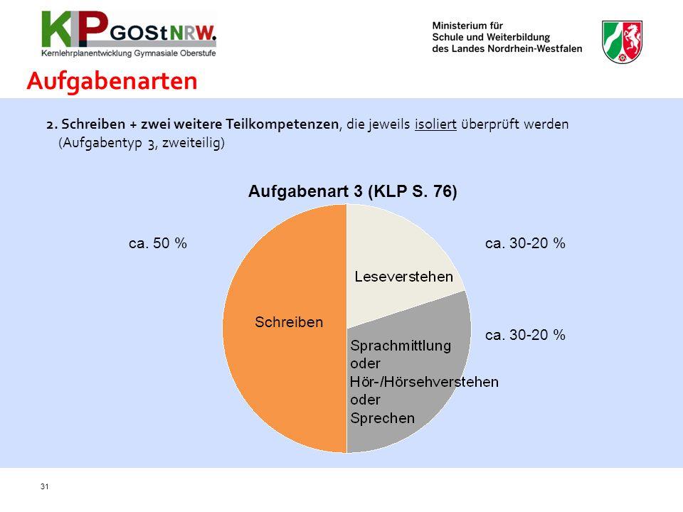 Aufgabenarten Aufgabenart 3 (KLP S. 76) +