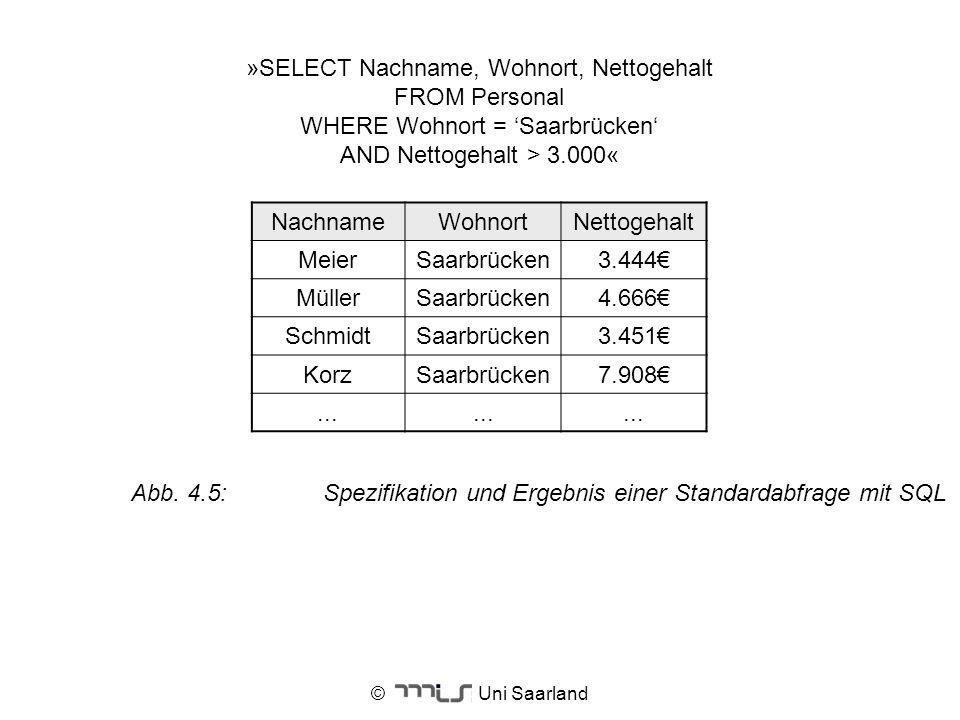 Abb. 4.5: Spezifikation und Ergebnis einer Standardabfrage mit SQL