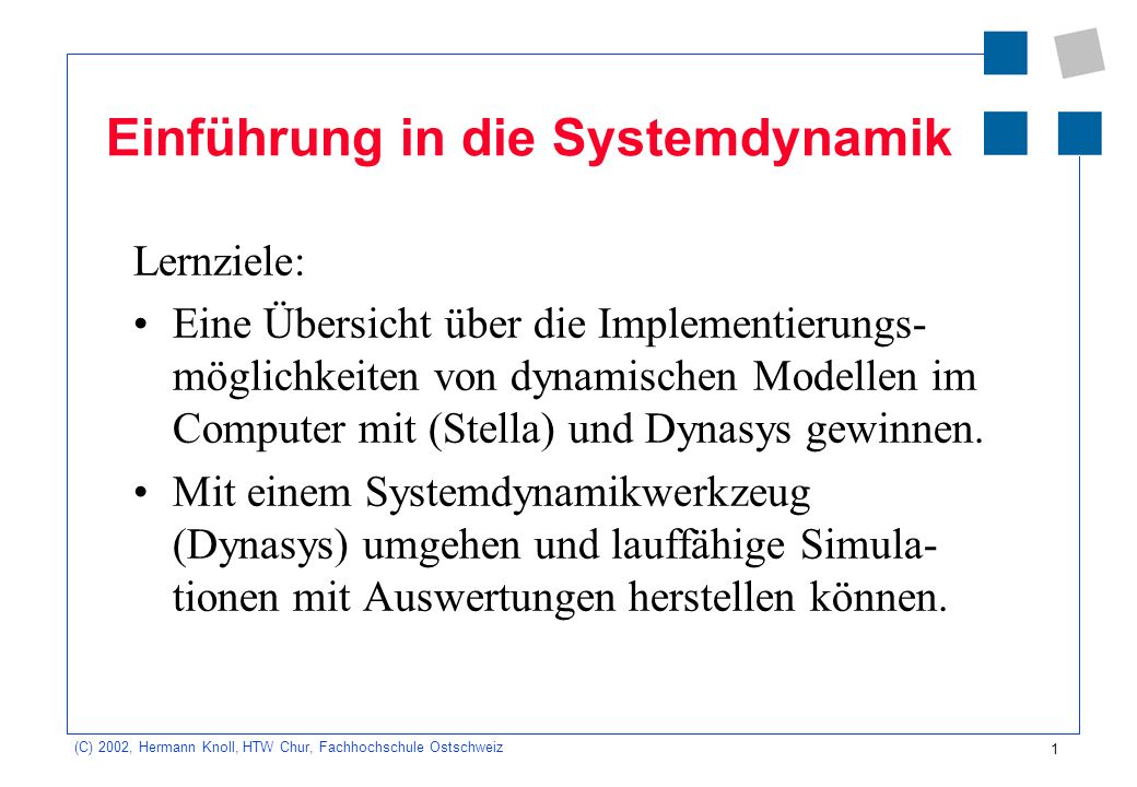 Einführung in die Systemdynamik