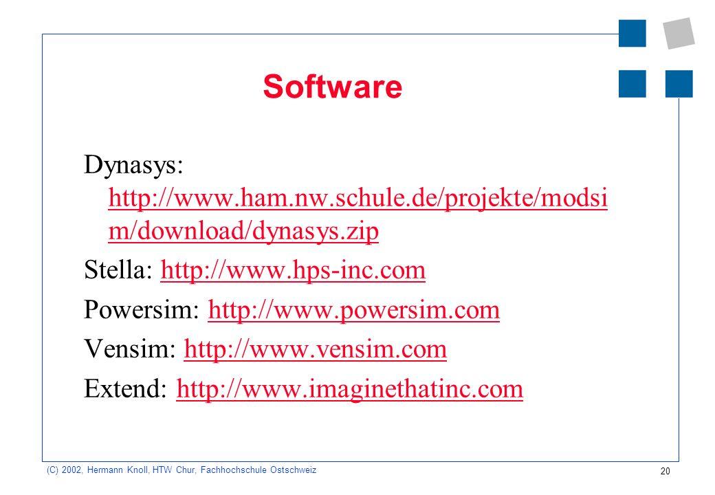 Software Dynasys: http://www.ham.nw.schule.de/projekte/modsim/download/dynasys.zip. Stella: http://www.hps-inc.com.