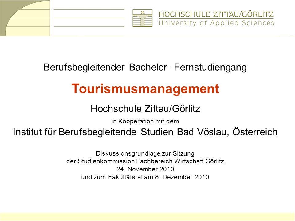 Tourismusmanagement Berufsbegleitender Bachelor- Fernstudiengang