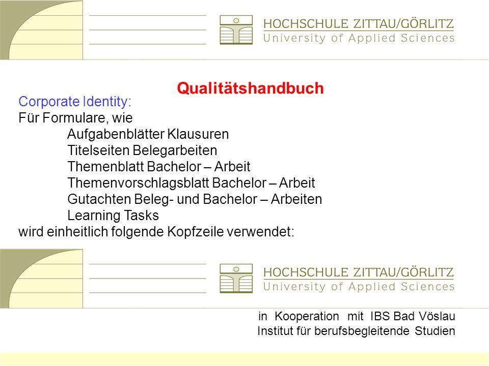 Qualitätshandbuch Corporate Identity: Für Formulare, wie