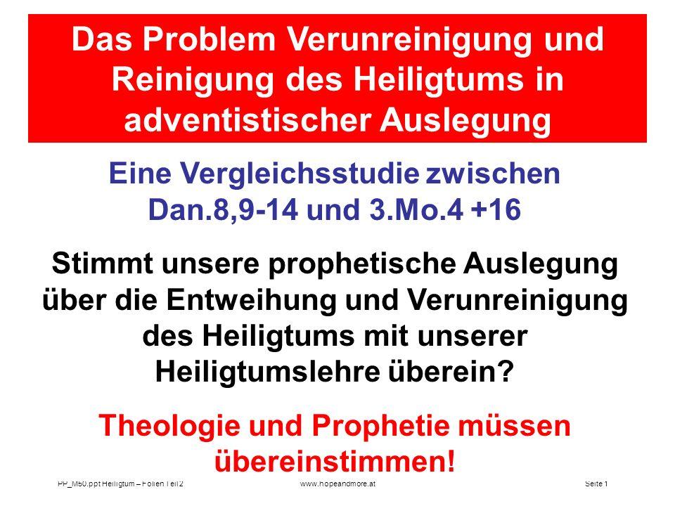 Das Problem Verunreinigung und Reinigung des Heiligtums in adventistischer Auslegung