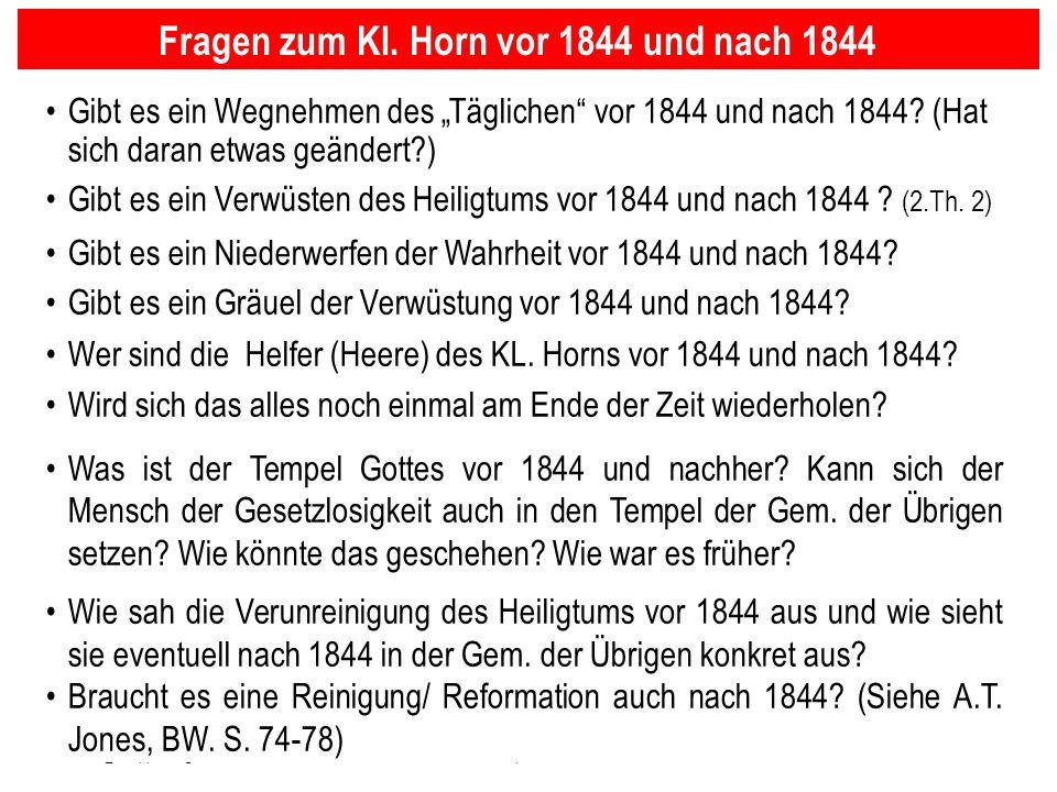 Fragen zum Kl. Horn vor 1844 und nach 1844