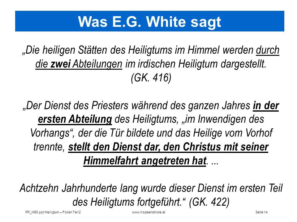 Was E.G. White sagt