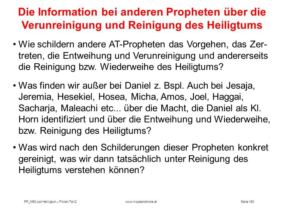 Die Information bei anderen Propheten über die Verunreinigung und Reinigung des Heiligtums