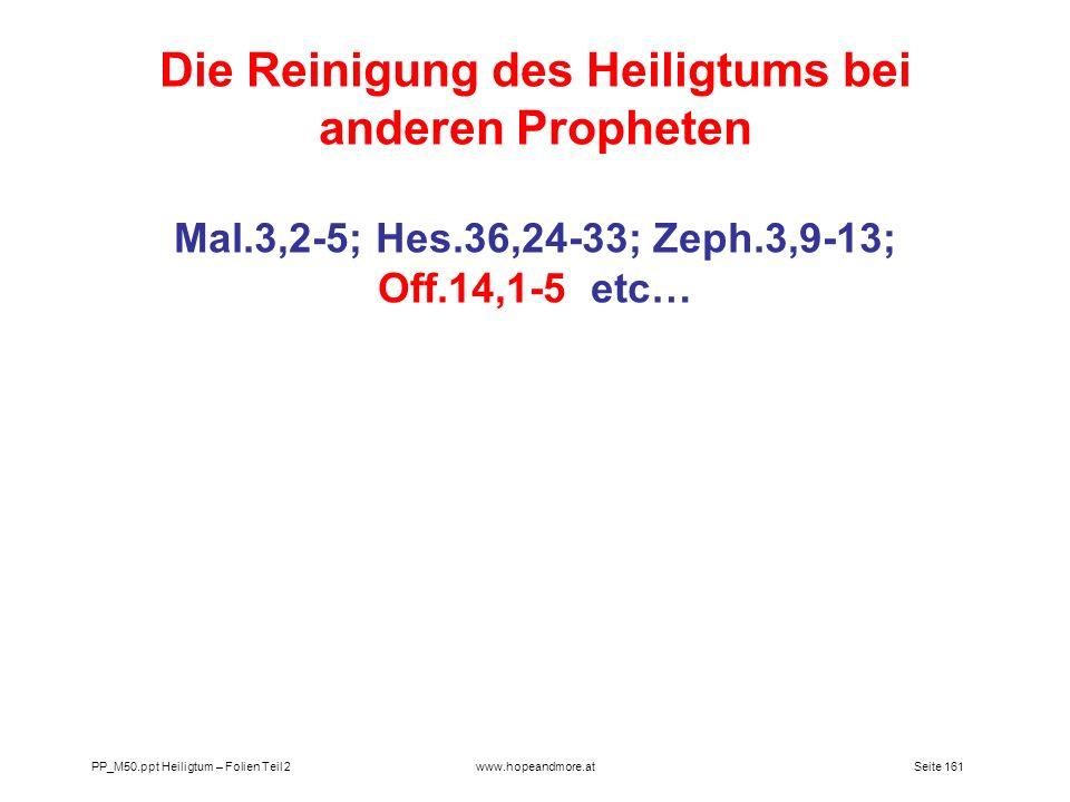 Die Reinigung des Heiligtums bei anderen Propheten
