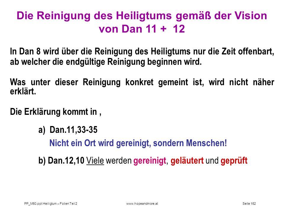 Die Reinigung des Heiligtums gemäß der Vision von Dan 11 + 12