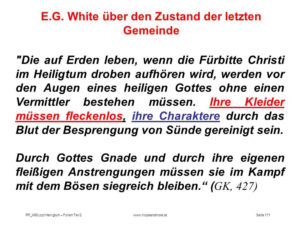 E.G. White über den Zustand der letzten Gemeinde
