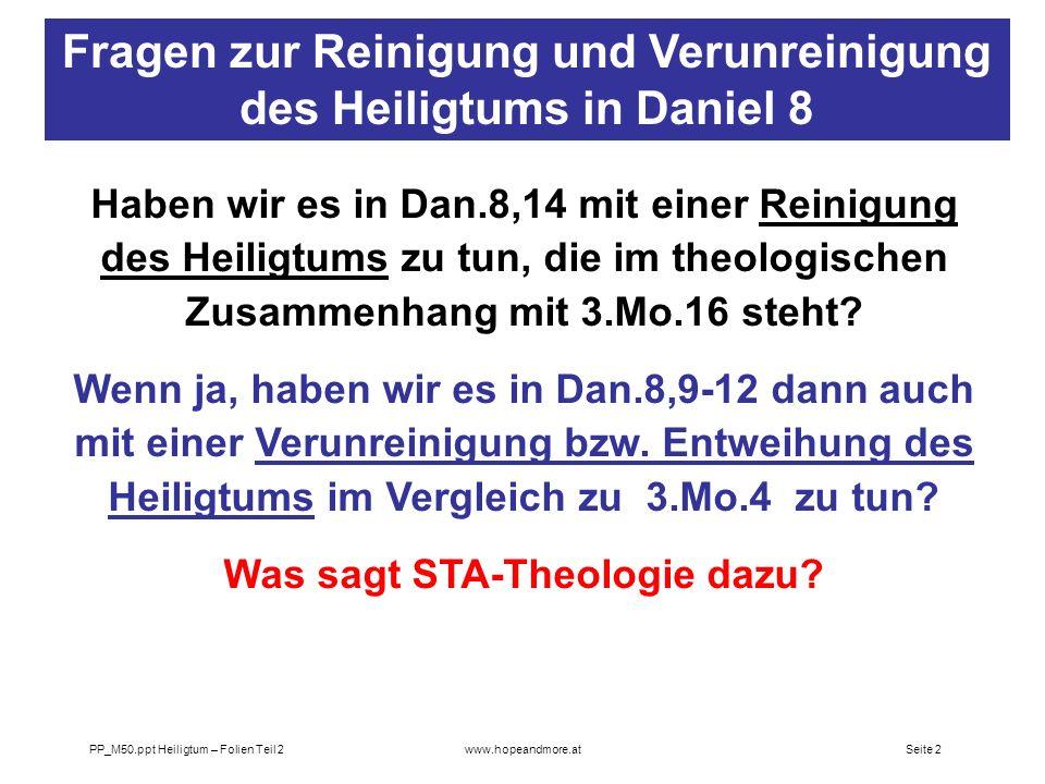 Fragen zur Reinigung und Verunreinigung des Heiligtums in Daniel 8