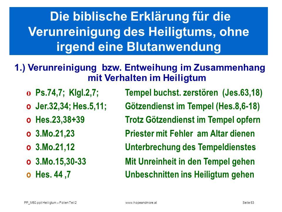 Die biblische Erklärung für die Verunreinigung des Heiligtums, ohne irgend eine Blutanwendung