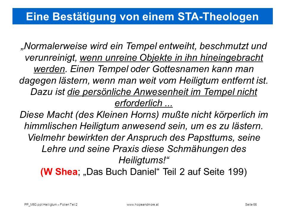 Eine Bestätigung von einem STA-Theologen