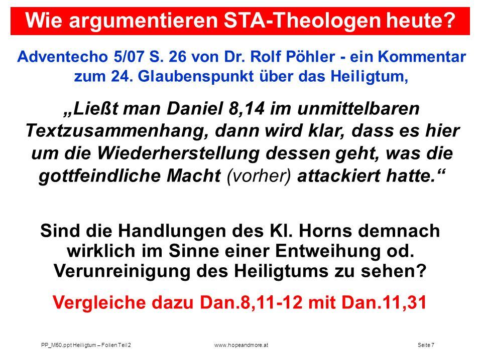 Wie argumentieren STA-Theologen heute