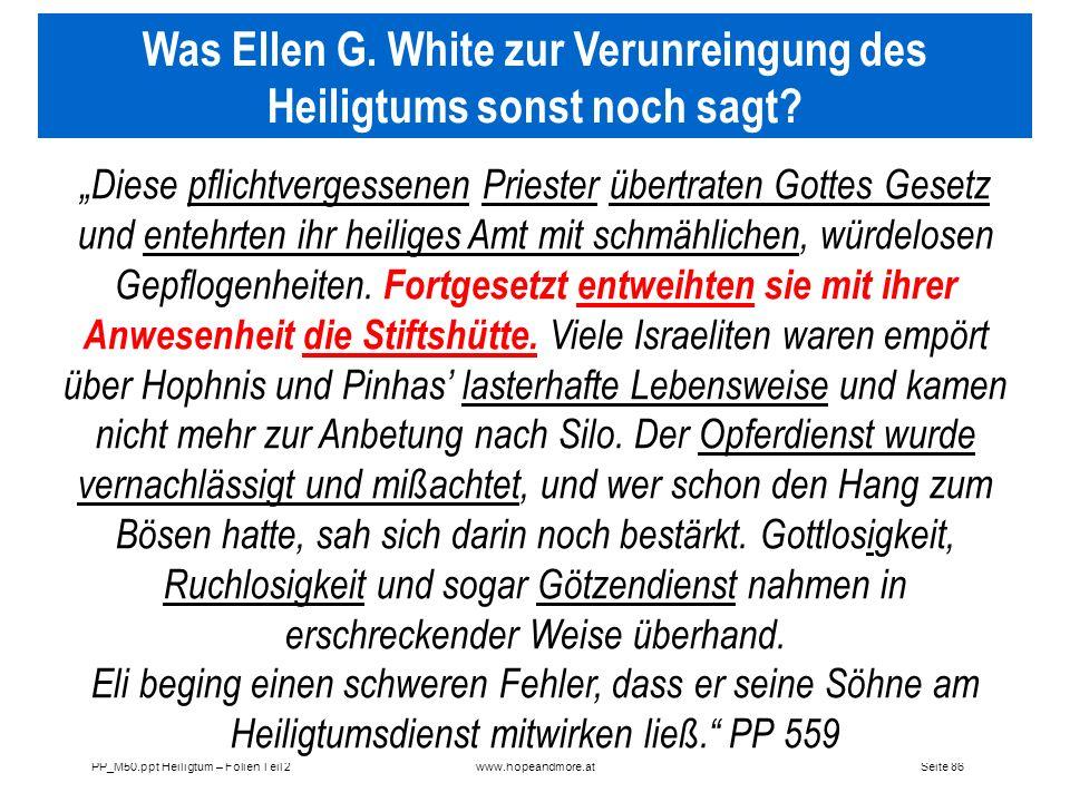 Was Ellen G. White zur Verunreingung des Heiligtums sonst noch sagt