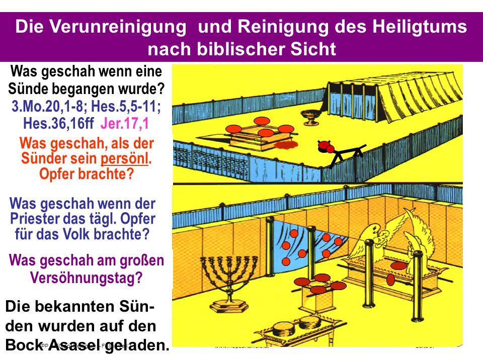Die Verunreinigung und Reinigung des Heiligtums nach biblischer Sicht
