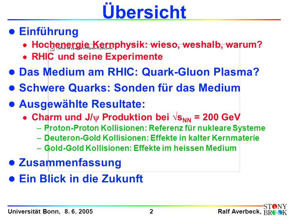 Übersicht Einführung Das Medium am RHIC: Quark-Gluon Plasma