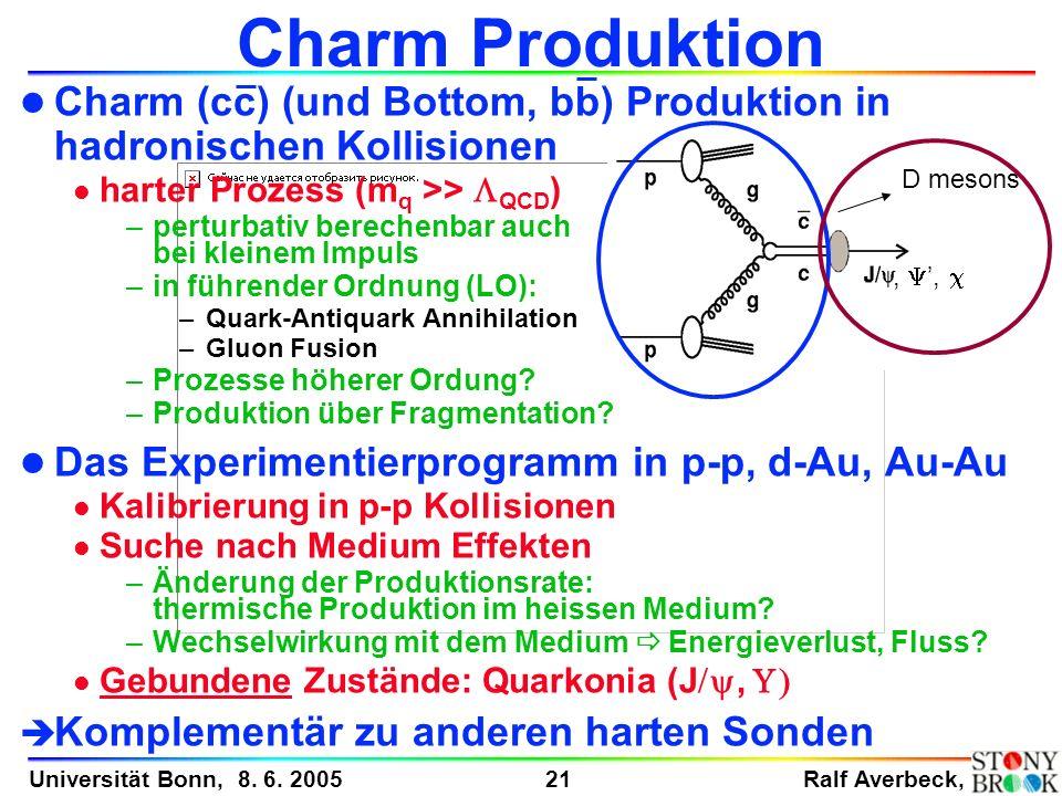 Charm Produktion Charm (cc) (und Bottom, bb) Produktion in hadronischen Kollisionen. harter Prozess (mq >> LQCD)