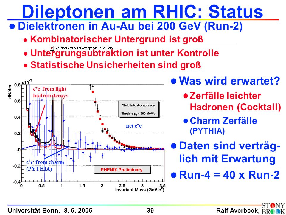 Dileptonen am RHIC: Status