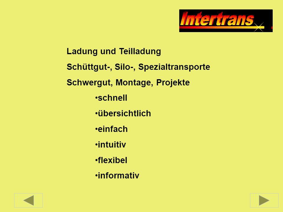 Ladung und Teilladung Schüttgut-, Silo-, Spezialtransporte. Schwergut, Montage, Projekte. schnell.