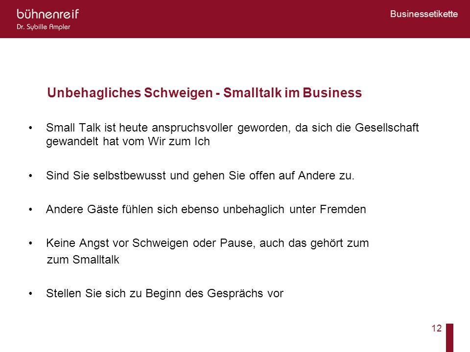 Unbehagliches Schweigen - Smalltalk im Business