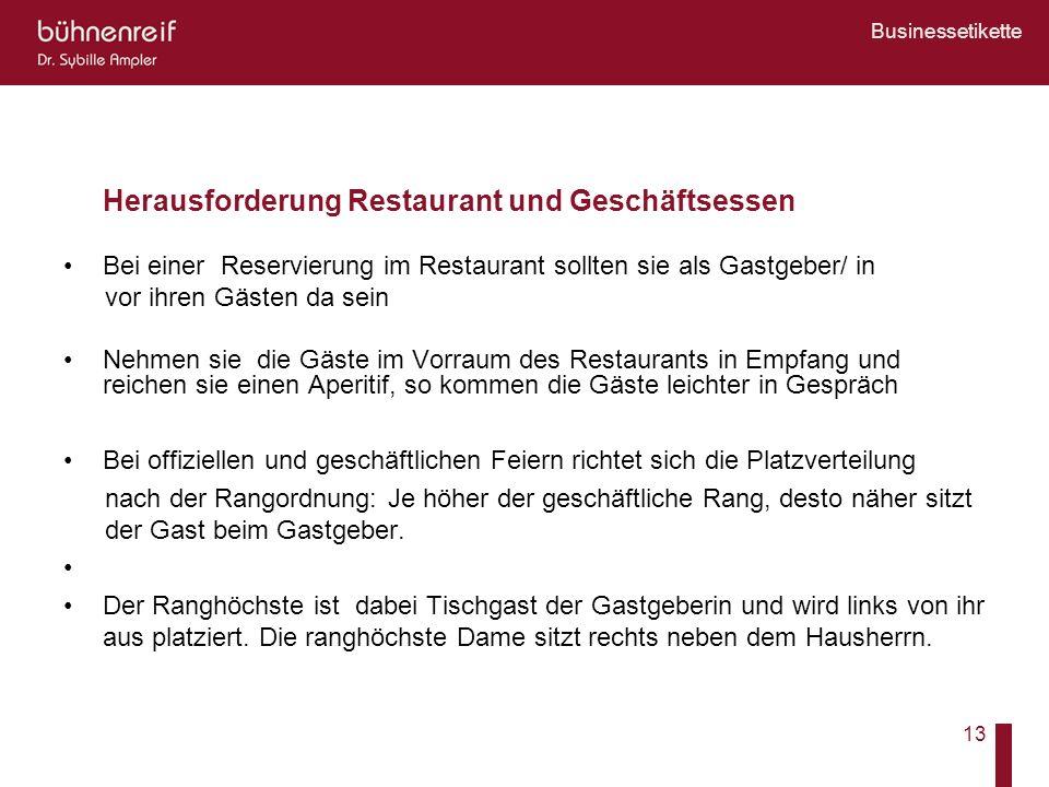Herausforderung Restaurant und Geschäftsessen