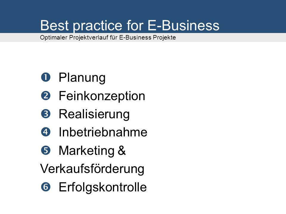 Best practice for E-Business Optimaler Projektverlauf für E-Business Projekte
