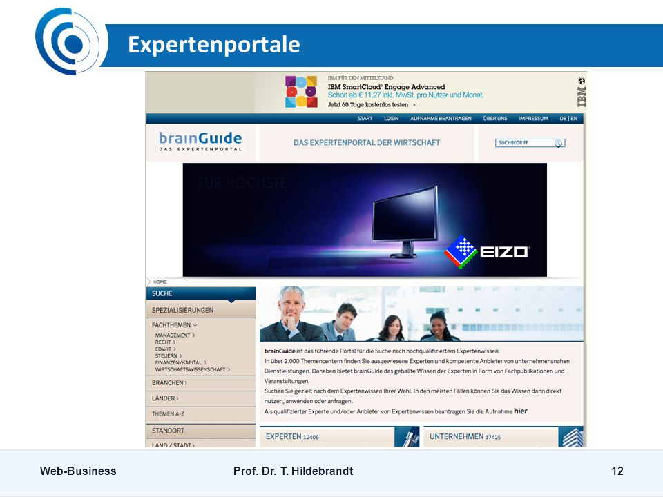 Expertenportale Web-Business Prof. Dr. T. Hildebrandt