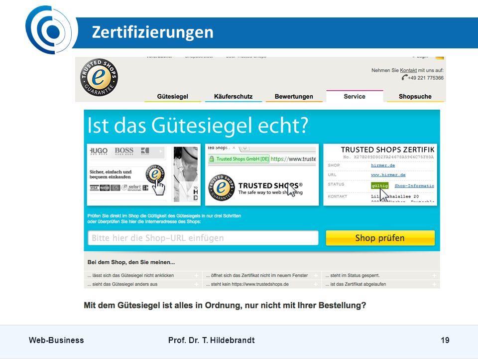 Zertifizierungen Web-Business Prof. Dr. T. Hildebrandt
