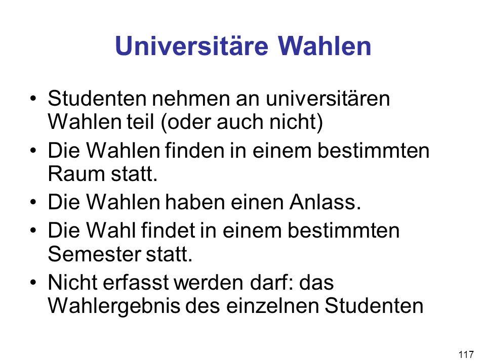 Universitäre Wahlen Studenten nehmen an universitären Wahlen teil (oder auch nicht) Die Wahlen finden in einem bestimmten Raum statt.