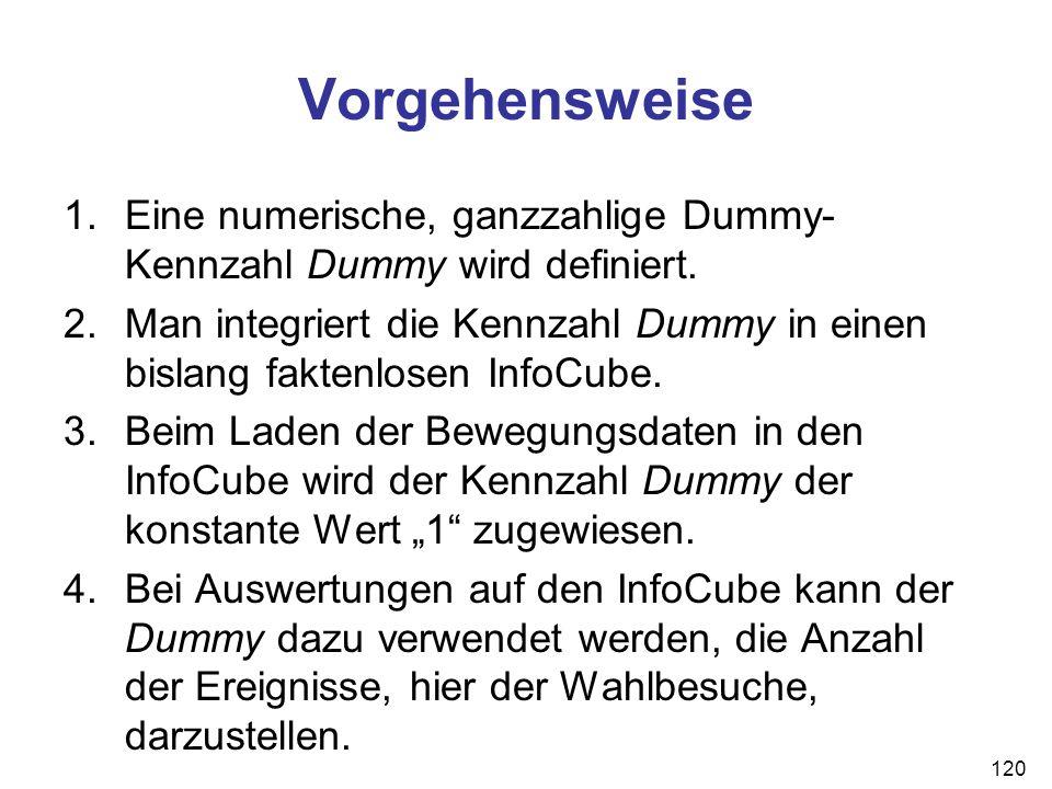 Vorgehensweise Eine numerische, ganzzahlige Dummy-Kennzahl Dummy wird definiert.