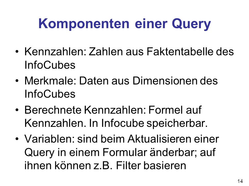 Komponenten einer Query