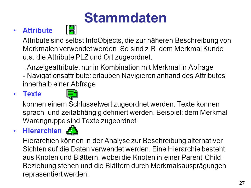 Stammdaten Attribute.