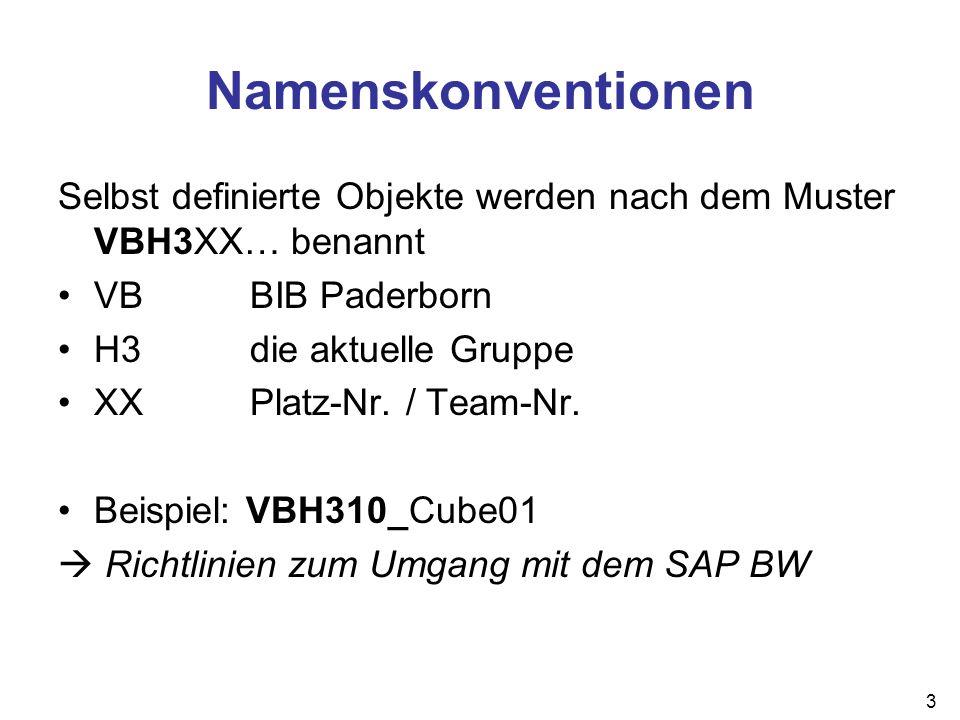 Namenskonventionen Selbst definierte Objekte werden nach dem Muster VBH3XX… benannt. VB BIB Paderborn.