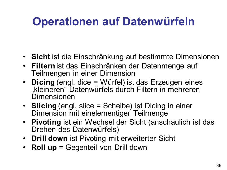 Operationen auf Datenwürfeln