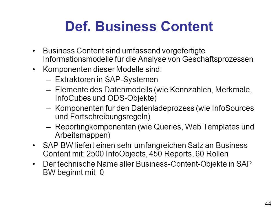 Def. Business Content Business Content sind umfassend vorgefertigte Informationsmodelle für die Analyse von Geschäftsprozessen.