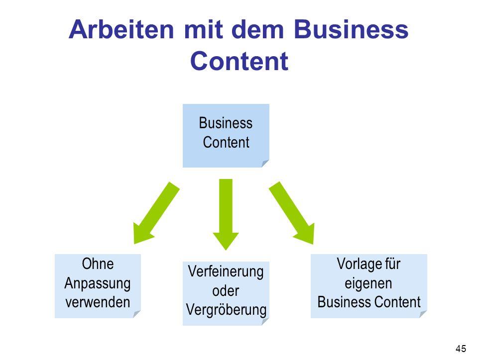 Arbeiten mit dem Business Content
