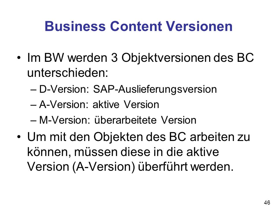 Business Content Versionen