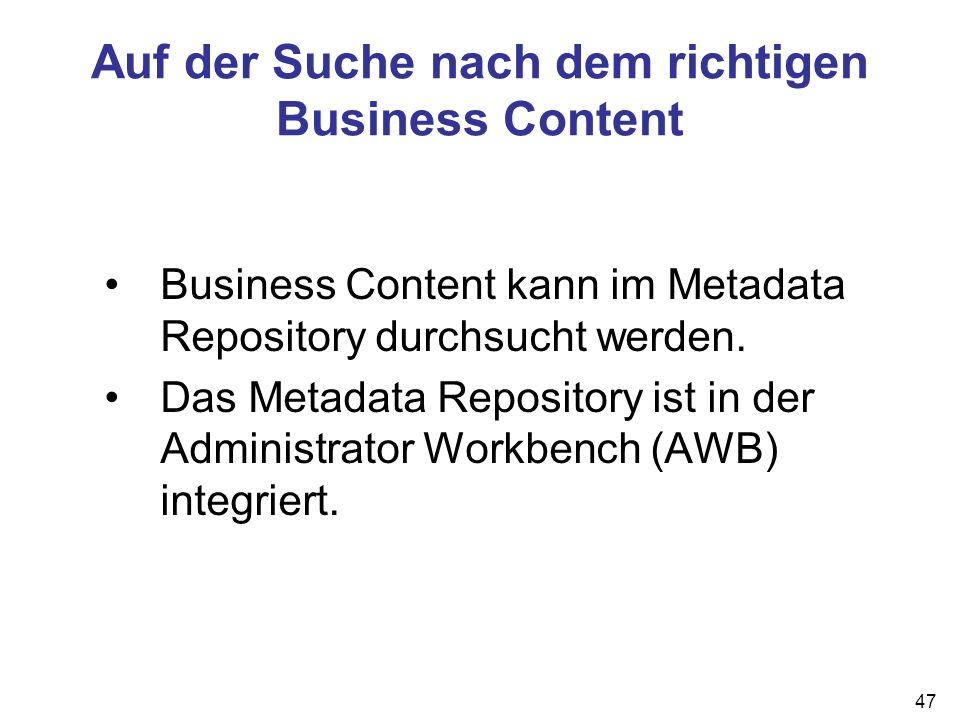 Auf der Suche nach dem richtigen Business Content