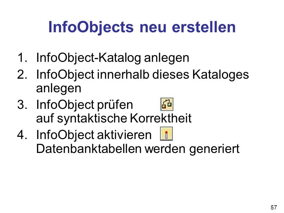 InfoObjects neu erstellen