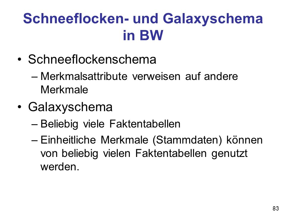 Schneeflocken- und Galaxyschema in BW
