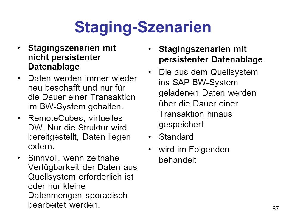 Staging-Szenarien Stagingszenarien mit nicht persistenter Datenablage
