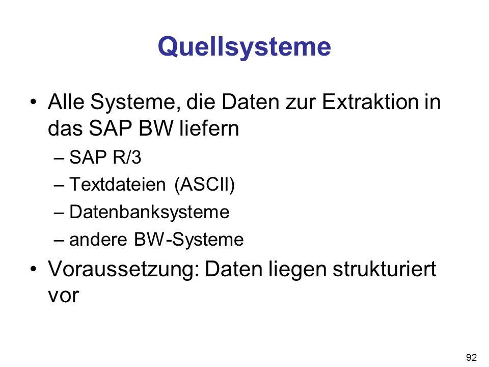 Quellsysteme Alle Systeme, die Daten zur Extraktion in das SAP BW liefern. SAP R/3. Textdateien (ASCII)